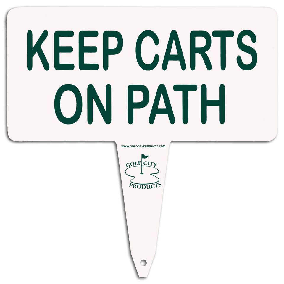 Aluminum 'keep on path' sign