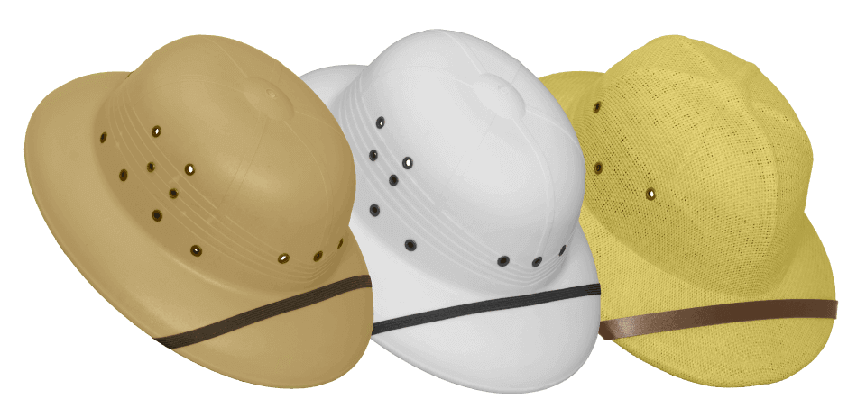 Safari-type sun helmets